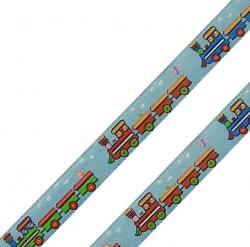 Webband mit Zügen 15mm hellblau - bunt
