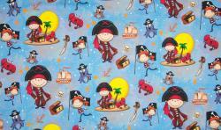 Baumwoll Jersey Stoff Digital Druck Junge Piraten