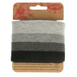 Cuff Opry - Fertigbündchen Streifen grau - schwarz 120cm