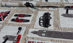 Bedruckter Baumwoll Canvas Meterware Stoff London