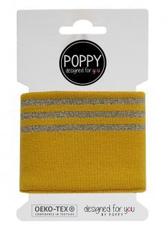 Cuff Poppy - Fertigbündchen College Lurex Streifen ocker gold