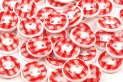 Kunststoff Hemdenknopf vichy Karo rot 13mm