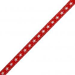 Webband kleine Sterne / rot - weiss
