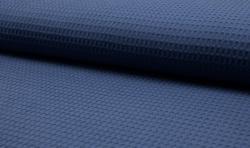 Waffel Piqué Baumwoll Stoff Meterware Jeansblau