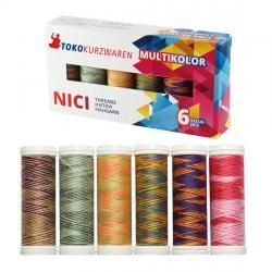 Multicolor Deco-Naht - Nähfaden Nähgarn Set - 6 Farben á 150m *EARTH*