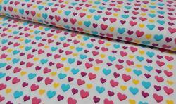 Baumwoll Jersey Stoff bedruckt - bunte Herzen