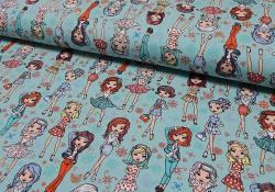 Baumwoll Jersey Stoff Bedruckt - Mode Girls - grün