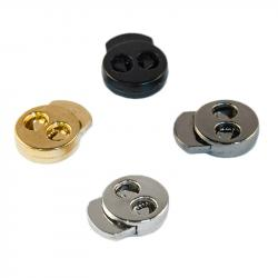 Kordelstopper 14mm Metall rund 2-Loch silber gold schwarz titan