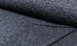 Gestrickter Fleece Stoff - dunkelblau/dunkelgrau mellange