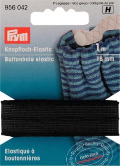 PRYM Knopfloch-Elastic glattes Band 18 mm schwarz