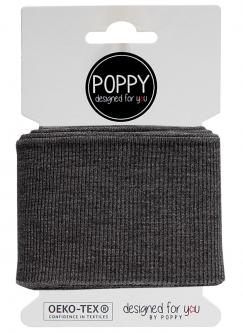 Cuff Poppy - Fertigbündchen Uni - grau melange