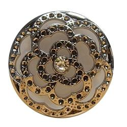 Exclusiv Strass Knopf großer Perle hinter Rose silber 40mm