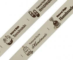Baumwollband Handmade Aufdruck natur-braun