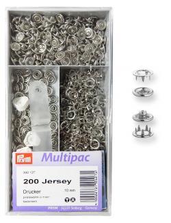 PRYM Multipack Jersey Druckknöpfe Zackenring 10 mm silberfarbig