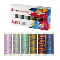 Multicolor Deco-Naht - Nähfaden Nähgarn Set - 6 Farben á 150m *SKY*