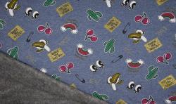 Happy Fleece Alpen Fleece Stoff Metallic Druck Jeansblau