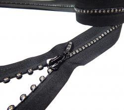 Fashion Strass Reißverschluss 45cm teilbar schwarz