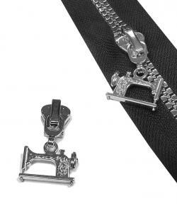 5V Nähmaschine Motiv Schieber für Delrin Vislon Reißverschluss *Silber*