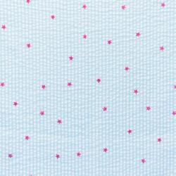Baumwoll Stoff Seersucker Streifen mit Sternen Mint