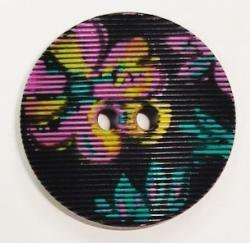 Knopf schwarz m. Blumen geriffelt 15mm