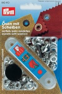 PRYM Ösen mit Scheiben 4mm silber
