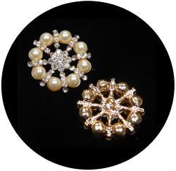 Exclusiv Perlen Strassknopf gold Tina 27mm