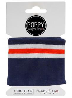 Cuff Poppy - Fertigbündchen Multi College Streifen marine