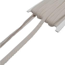 Elastisches Einfassband mit Bogenkante - cremeweiss