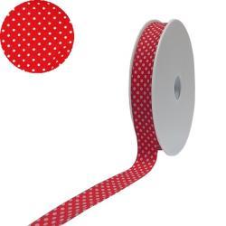 1 Rolle Baumwoll / gepunktetes Schrägband 40/20 - rot - weiss