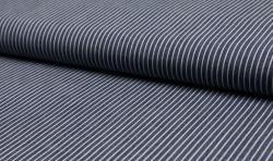 Leichter Hemden Jeans Stoff Jacquard streifen 5mm dunkelblau