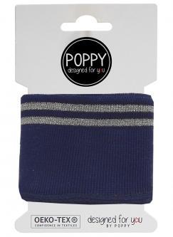 Cuff Poppy - Fertigbündchen College Lurex Streifen navy silber 1014