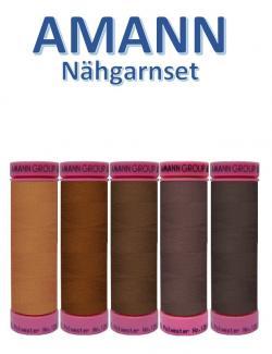 AMANN 5er Nähgarn Set Braun Farbtöne Allesnäher
