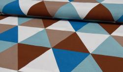 Bedruckter Baumwoll Canvas Meterware Stoff Dreiecke braun blau