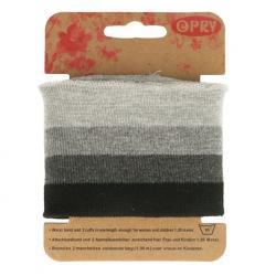 Cuff Opry - Fertigbündchen Streifen grau - schwarz 100cm