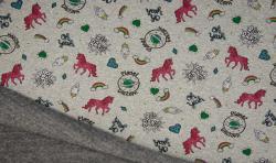 Happy Fleece Alpen Fleece Stoff Metallic Druck Grau