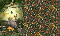 Baumwoll Jersey PANEL Stoff Fuchs im Walde