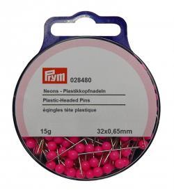 PRYM Plastikkopfstecknadeln 0,65 x 32 mm neon