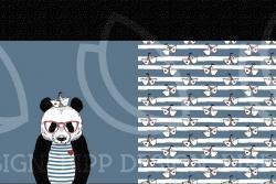 Baumwoll Jersey PANEL Stoff Panda Bär Jeansblau