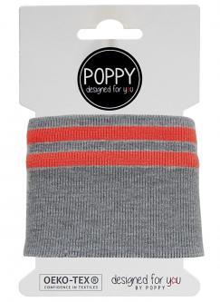 Cuff Poppy - Fertigbündchen College 2 - Streifen grau - rot