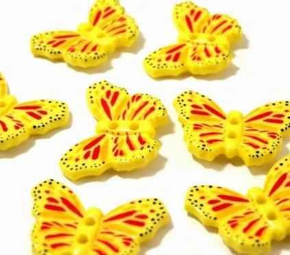 Kinderknopf gelb Schmetterling 28mm 2.70 EUR//Stück