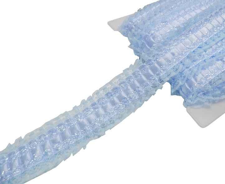 4-50-EUR-Meter-Satin-Plissee-Borte-auf-Spitze-40mm-hellblau