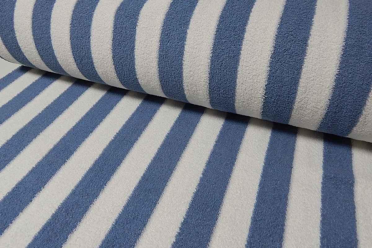 c3813ae279633c Baumwoll Frottee streifen Bademantel Stoff blau - weiss gestreift ...
