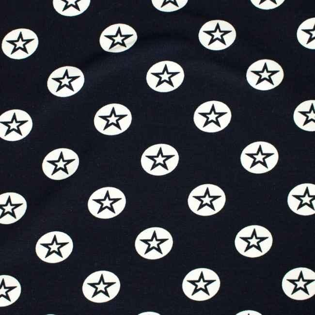 14.85 EUR//Meter Sterne im Kreis schwarz weiss Baumwoll Jersey Stoff