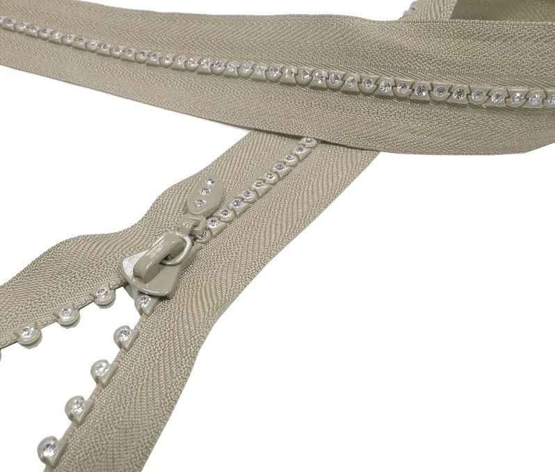teilbarer Reißverschluss mit Strasssteinen 25 cm