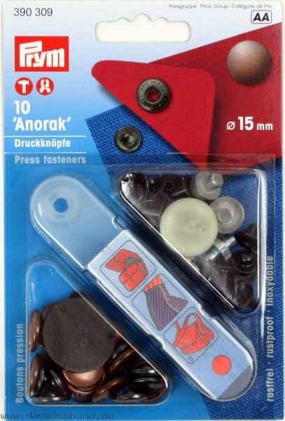 PRYM Anorak 12mm Druckknöpfe altkupfer
