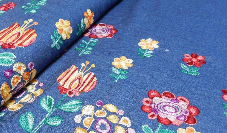 leichter bestickter hemden jeans stoff blumen online. Black Bedroom Furniture Sets. Home Design Ideas