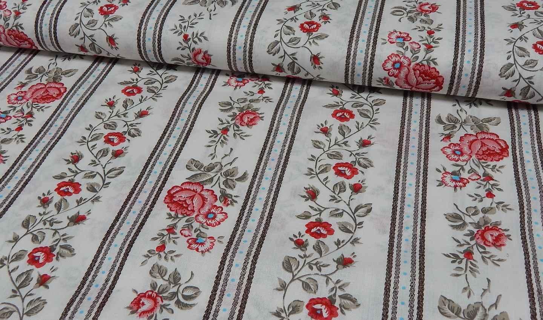 eur meter frieda s vintage bedruckter rosen baumwoll stoff braun ebay. Black Bedroom Furniture Sets. Home Design Ideas